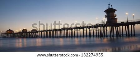 huntington beach pier panorama - stock photo