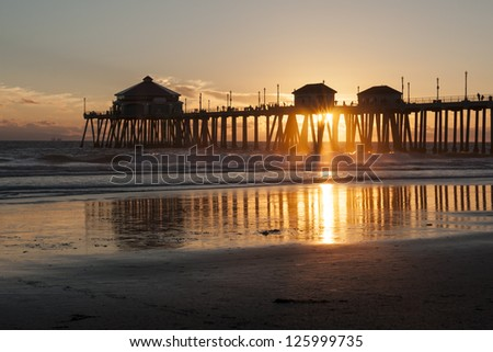 Huntington Beach Pier Sunset - stock photo