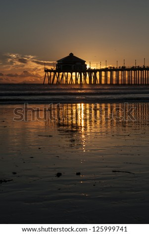 Huntington Beach Pier Sunset - stock photo