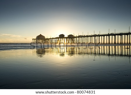 Huntington Beach Pier Sunset Silhouette