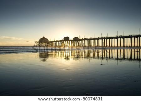 Huntington Beach Pier Sunset Silhouette - stock photo