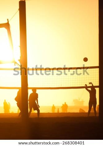 Huntington Beach Sunset - stock photo