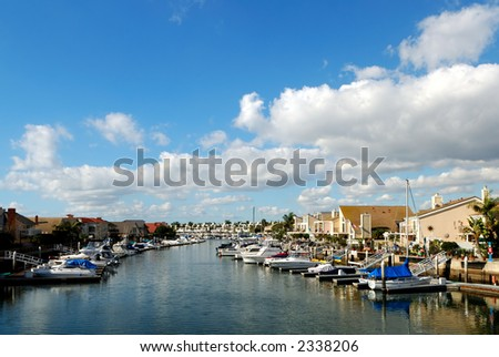 Huntington Harbor - stock photo