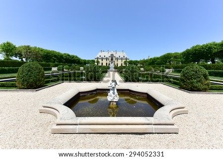 Huntington, New York - July 3, 2015: Oheka Castle in Huntington, New York. One of many among the Gold Coast Mansions of Long Island. - stock photo