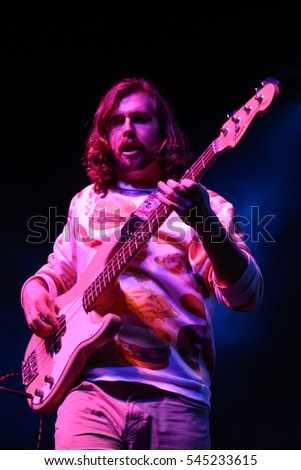HUNTINGTON, NY-DEC 1: Bassist Richie Cluxton of Sir Cadian Rhythm performs in concert at the Paramount on December 1, 2016 in Huntington, New York.