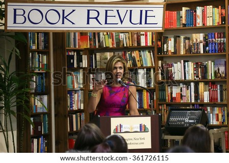 """HUNTINGTON, NY-JAN 8: TV personality Hoda Kotb speaks at her book signing of """"Where We Belong: Journeys That Show Us The Way"""" at The Book Revue on January 8, 2016 in Huntington, New York. - stock photo"""
