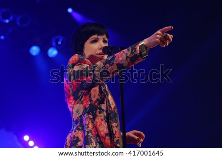 HUNTINGTON, NY-MAR 26: Carly Rae Jepsen performs onstage at the Paramount on March 26, 2016 in Huntington, New York. - stock photo