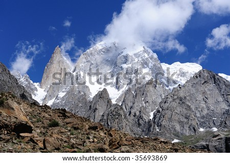 Hunza Peak and Lady Finger in Karakoram - stock photo