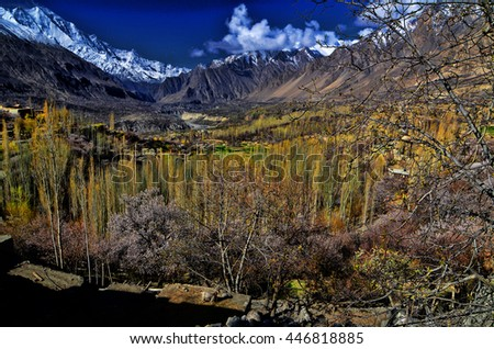 hunza valley during spring season - stock photo