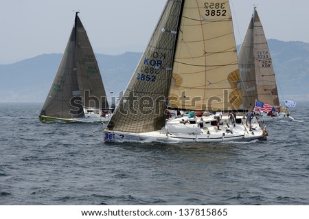 HUPO, SOUTH KOREA - MAY 19: Korea Cup International Yacht Race. Yachts are struggling for first place, 19 May 2012. Hupo, South Korea