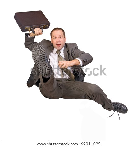 hurdle race businessman with briefcase - stock photo