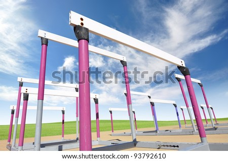 Hurdles for track and field exercises - stock photo