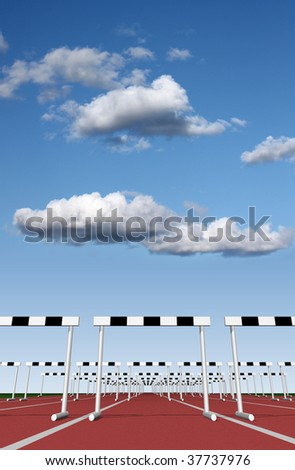 Hurdles track with sky background - stock photo