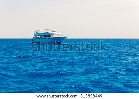 HURGHADA, EGYPT - MAY 19, 2015: Luxury yacht on the sea