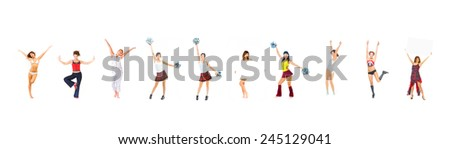 Hurray to Us Girls Cheerleaders  - stock photo