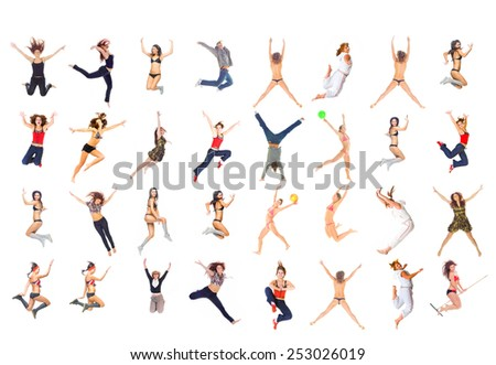 Hurray to Us Team Jumping  - stock photo