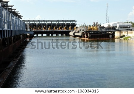 Hurricane And Flood Protection Locks In Lake Pontchartrain At Seventeenth Street Canal, New Orleans, Louisiana