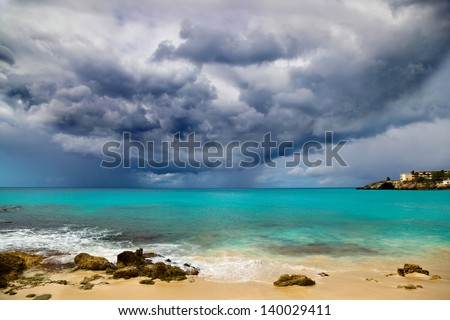 Hurricane Approaches Caribbean - stock photo