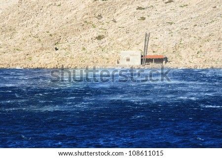 hurricane force storm and sea foam - stock photo