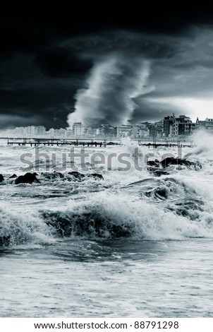 hurricane hits the city in the night - stock photo