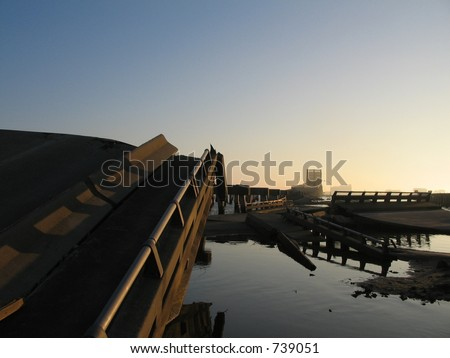 Hurricane Katrina bridge damage near Biloxi, Mississippi. - stock photo