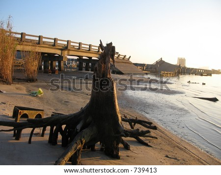 Hurricane Katrina bridge damage near Biloxi, Mississippi - stock photo