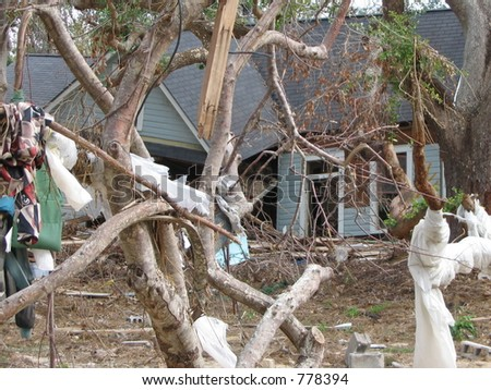 Hurricane Katrina storm damage near Biloxi, Mississippi. - stock photo