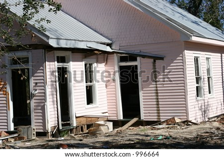 Hurricane Katrina storm damage to home. - stock photo