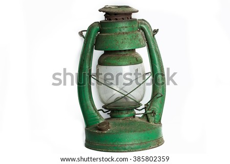 Hurricane lamp , storm lantern  isolated on white ground - stock photo