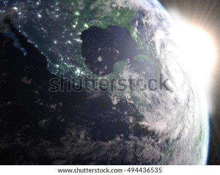Hurricane Matthew seen from space from space approaching Florida in America during sunrise. 3D illustration. Elements of this image furnished by NASA