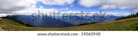 Hurricane Ridge on a sunny summer day in Olympic National Park - stock photo