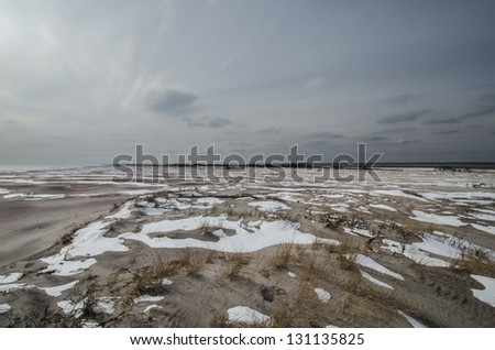 """Hurricane Sandy caused an over wash near the """"Old Inlet"""" area of Fire Island National Seashore off Long Island, New York. - stock photo"""