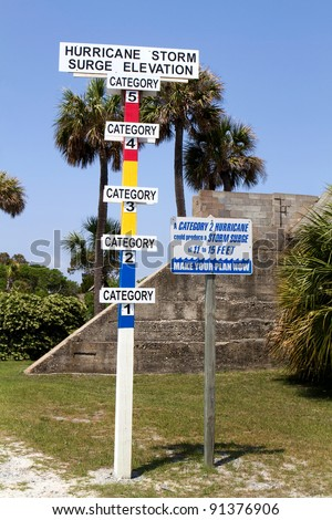 Hurricane storm surge elevation category gauge is erected on a barrier island. - stock photo