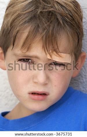 hurt boy - stock photo