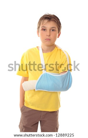 Hurt boy with one arm in a sling and a scrape over right eye - stock photo
