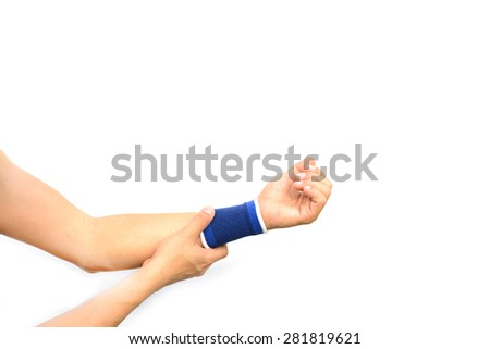 hurt hand with a wrist support isolated on white background - stock photo