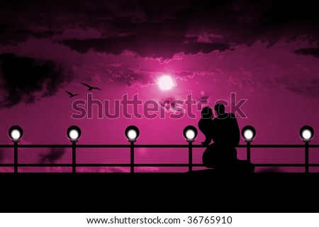 husband and wife at the quay - stock photo
