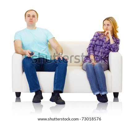 Husband and wife do not find mutual understanding isolated on white - stock photo
