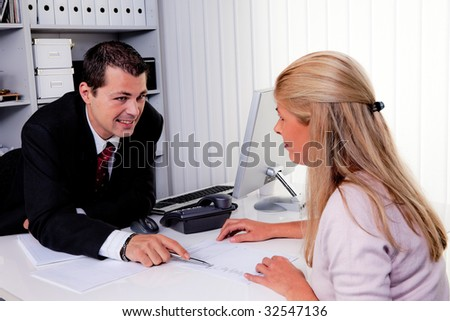 Husband and wife during a consultation - stock photo