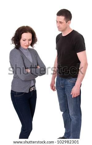 husband and wife quarrel isolated on white background - stock photo