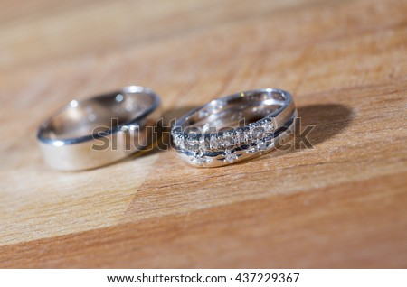 Husband Wife Wedding Rings On Wooden Stock Photo 100 Legal