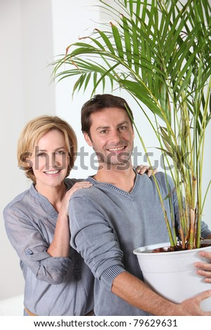 Husband carrying plant - stock photo