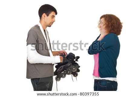 Husband coming home with broken arm and holding rollerskating and his wife being very surprised and scared isolated on white background