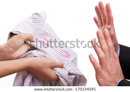 Husband cought redhanded, wife with kissed shirt - stock photo