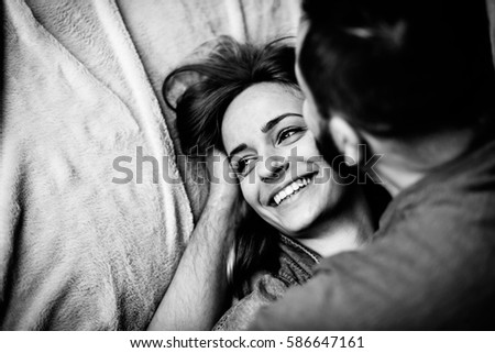 Husband Kisses His Beloved Wife In The Bedroom On Bed Love Story Black