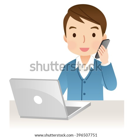 husband to telephone consultation for a notebook computer - stock photo
