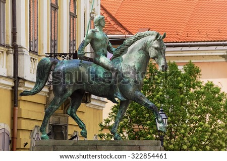Hussar Monument in the City of Szekesfehervar - stock photo