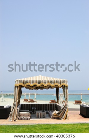 Hut at hotel recreation area, Fujeirah, United Arab Emirates - stock photo