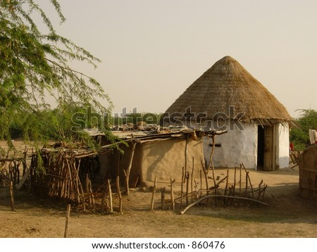 hut in india - stock photo