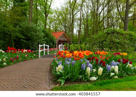 Hut In The Spring Garden With Stone Path And Blooming Flowers, Keukenhof,  Netherlands
